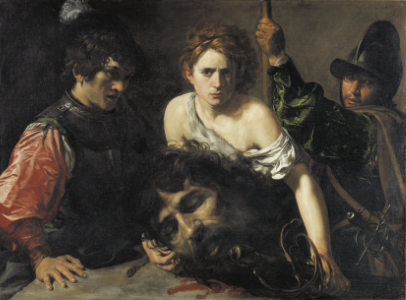 Valentin de Boulogne, David with the Head of Goliath and Two Soldiers, 1620/22, © Museo Nacionial Thyssen-Bornemisza, Madrid